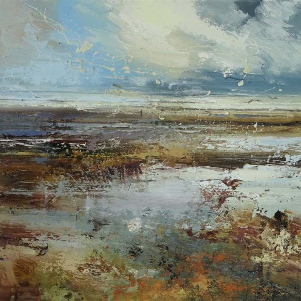 Claire Wiltsher Drifting II, Mixed media on canvas 50 x 50 cm.