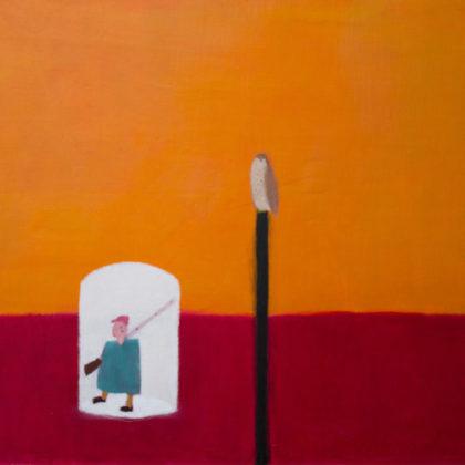 Andrew Squire Hunter, Oil on board 60 x 50cm.