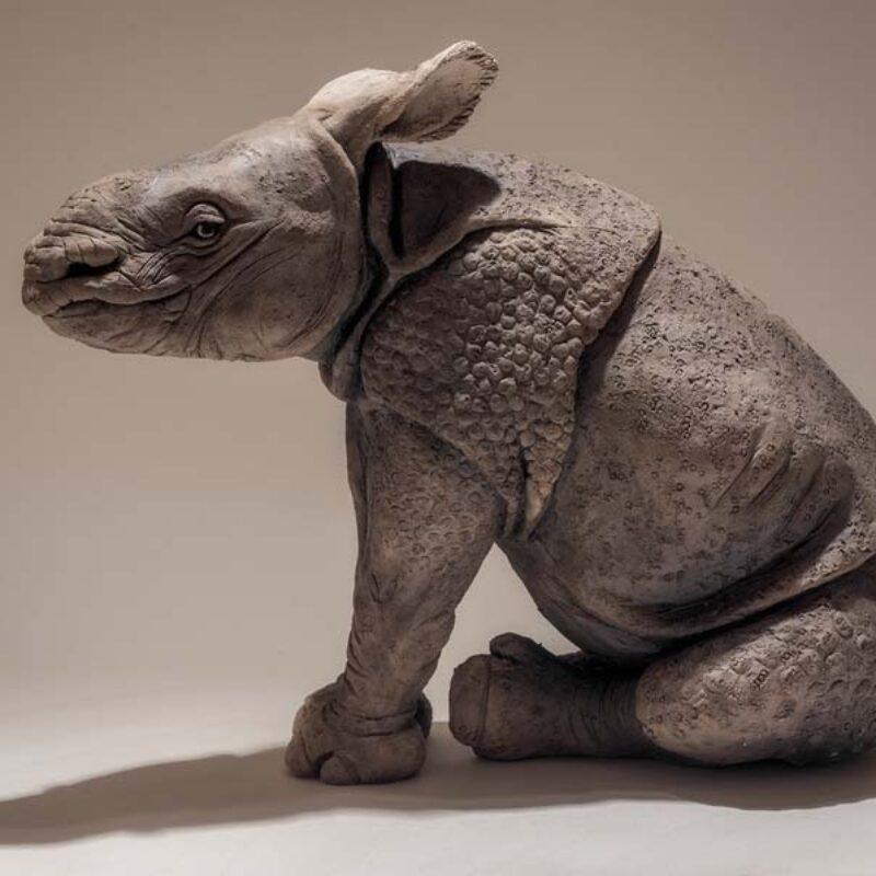 Nick Mackman Indian Rhino Baby, Low fired ceramic h33 x w22 x l42 cm-side
