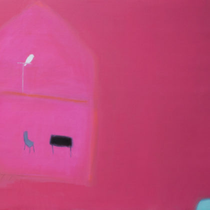 Andrew Squire Interior with Bird, Oil on board 90 x 75cm