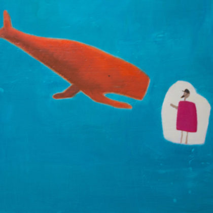 Andrew Squire Jonah and the Whale, Oil on board 60 x 50 cm.
