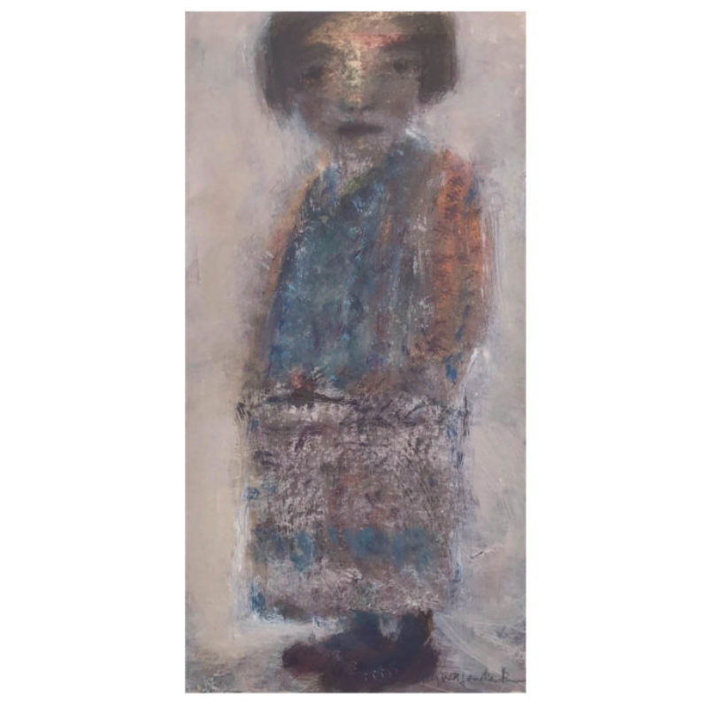 Joy Wolfenden Brown Old Fashioned Girl, Oil on paper 21 x 11.5 cm.