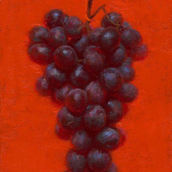Conor Walton Red Grapes Oil on Linen 30 x 20 cm.