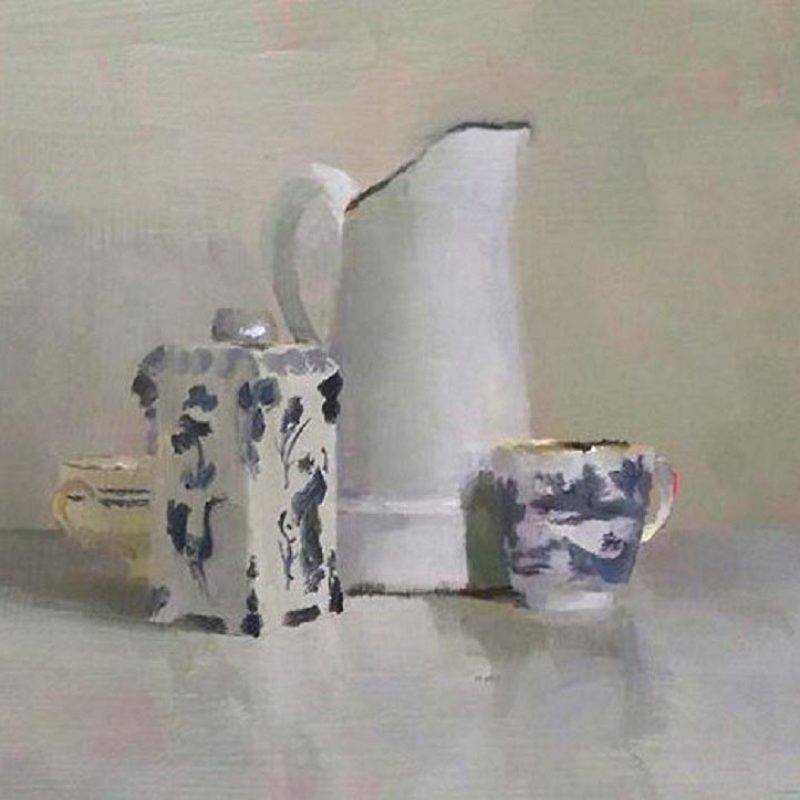 Helen Simmonds Still Life Group with Chinese Cup, Oil on Board 21 x 17 cm.
