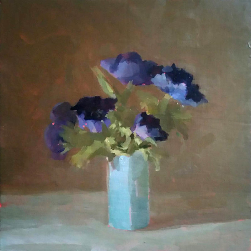 Helen Simmonds Studying Anemones in 2 Blues, Oil on board 18 x 18 cm.