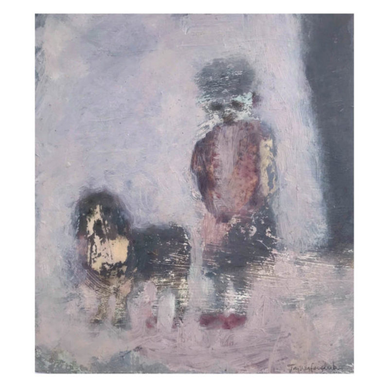 Joy Wolfenden Brown The Walk, Oil on paper 17 x 15 cm.