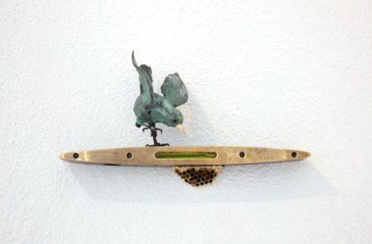 Patrick Haines Spirit Level, Wren and Nest, Bronze, Spirit Level Ed. of 25 h14 x 24 x 8 cm.
