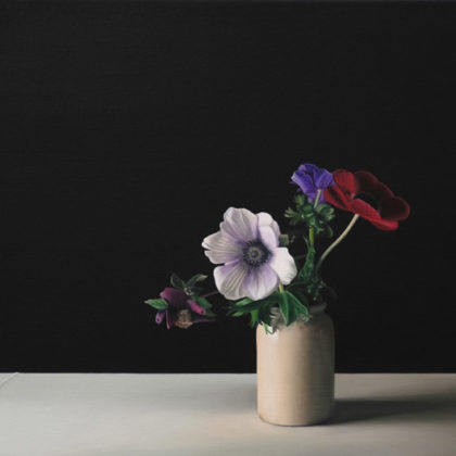 Jo Barrett B1. Still Life with Anemone and Hellebore, Oil on canvas 53 x 80 cm.