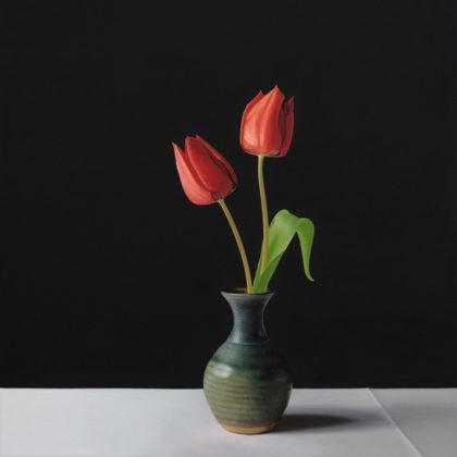 Jo Barrett B10. Still Life with Red Tulips, Oil on canvas 73 x 65 cm.