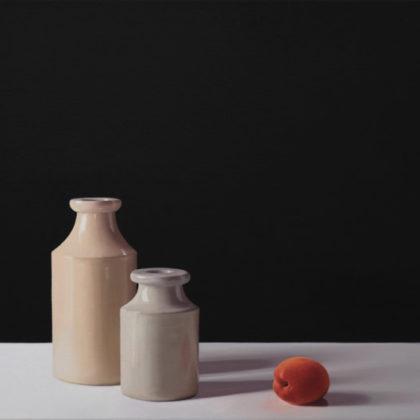 Jo Barrett B13. Still Life with Stoneware bottles and Apricot 53 x 80cm