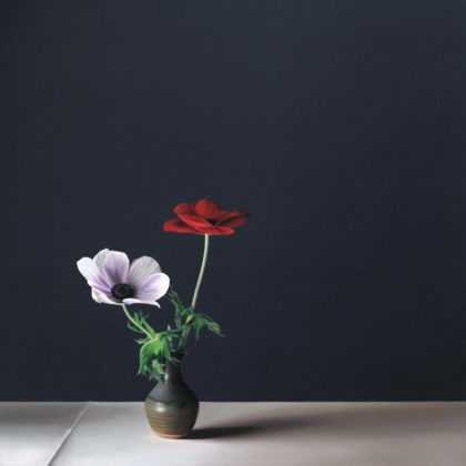 Jo Barrett B14. Still Life with White and Red Anemone, Oil on canvas 70 x 70 cm.