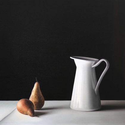 Jo Barrett B4. Still Life with Pears and Jug, Oil on canvas 80 x 115 cm.