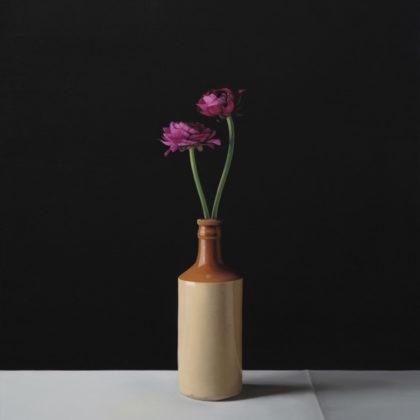 Jo Barrett B6. Still Life with Pink Ranunculi, Oil on canvas 73 x 65 cm.