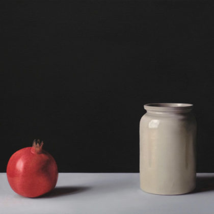 Jo Barrett B8. Still Life with Pomegranate and Stoneware Pot, Oil on canvas 53 x 80 cm.