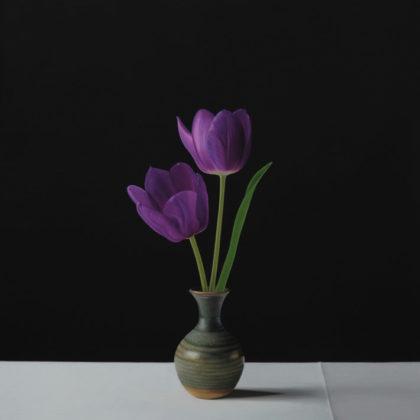 Jo Barrett B9. Still Life with Purple Tulips, Oil on canvas 73 x 65 cm.