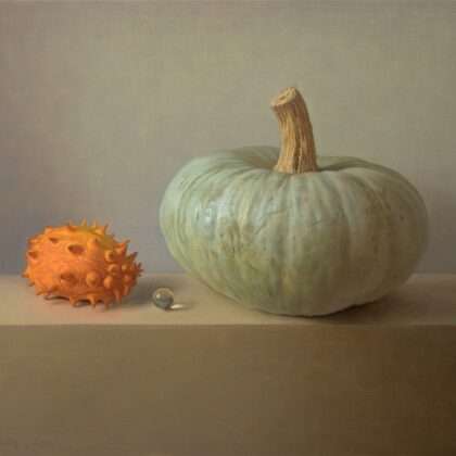 Alex Callaway Chance Encounter; Kiwano with Ghost Pumpkin, Oil on Panel 41 x 51 cm.