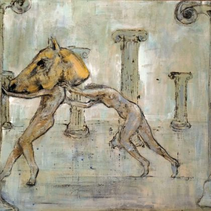 Richard Twose Hippocampus, Oil on board 46 x 29 cm.