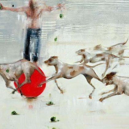 Richard Twose Imbalance, Oil on board 42 x 61 cm.