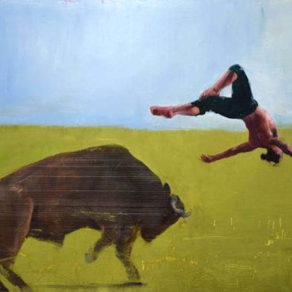Richard Twose Leap, Oil on board 122 x 83 cm.