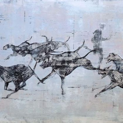 Richard Twose Running with the Pack, Oil on board 42 x 22 cm.