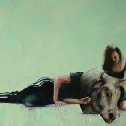 Richard Twose Sleeping Minotaur, Oil on board 62 x 83 cm.