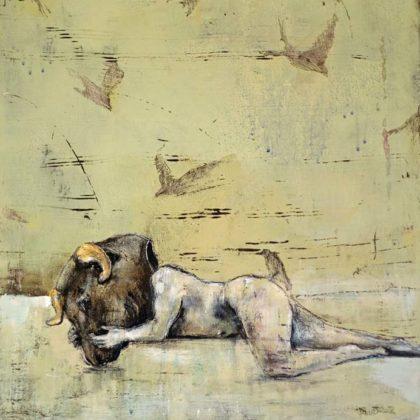 Richard Twose Sleeping Minotaur II, Oil on board 42 x 22 cm.