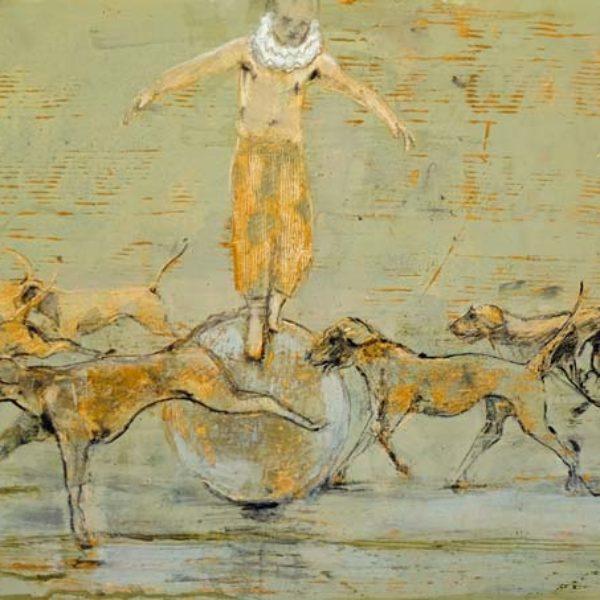 Richard Twose Undoing, Oil on board 42 x 32 cm.