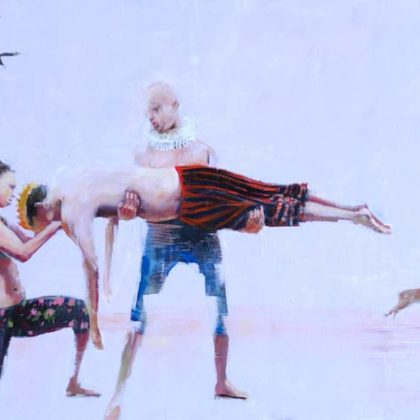 Richard Twose Who is the King Now (The Trickster), Oil on board 122 x 75 cm.