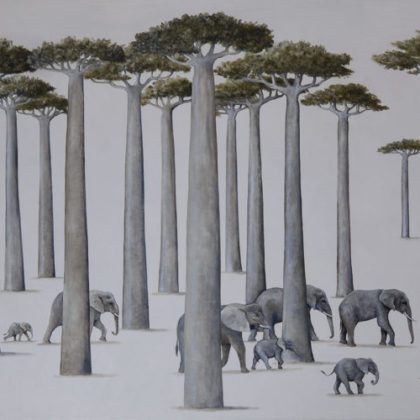 Rebecca Campbell African Giants Oil on linen 61 x 91 cm