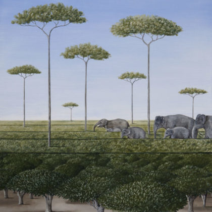 Rebecca Campbell The Tea Plantation Oil on linen 76 x 61 cm