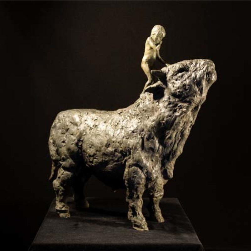 Beth Carter Girl and Bull, Bronze Ed. of 10 63 x 60 x 21 cm.