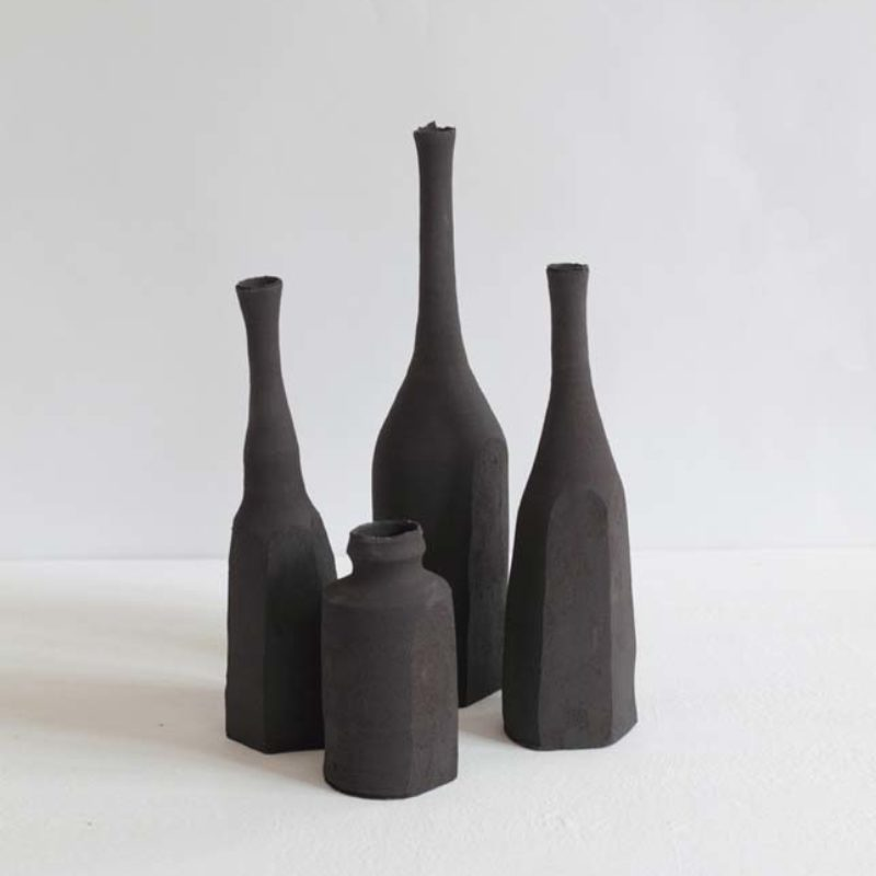 Akiko Hirai (from left) H39, H40, H41, H42 Black Bottles, Coloured Stoneware h20, h10.5, h25, h20 cm.