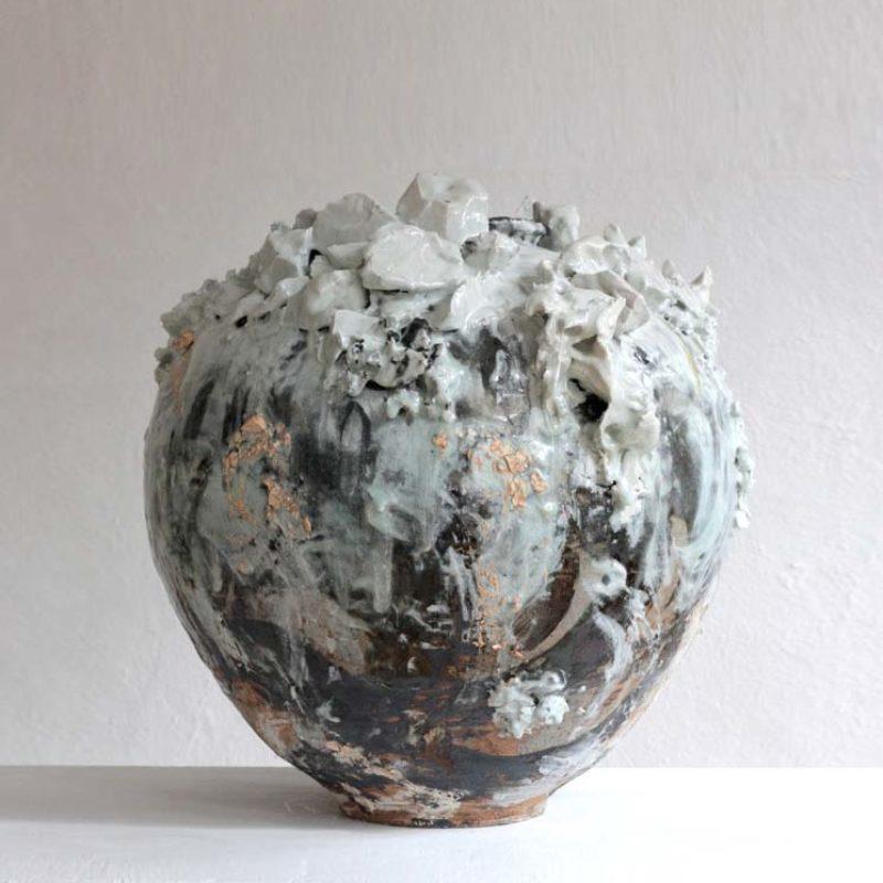 Akiko Hirai H50. Large Volcanic Moon Jar, Stoneware h57 x 53 cm.