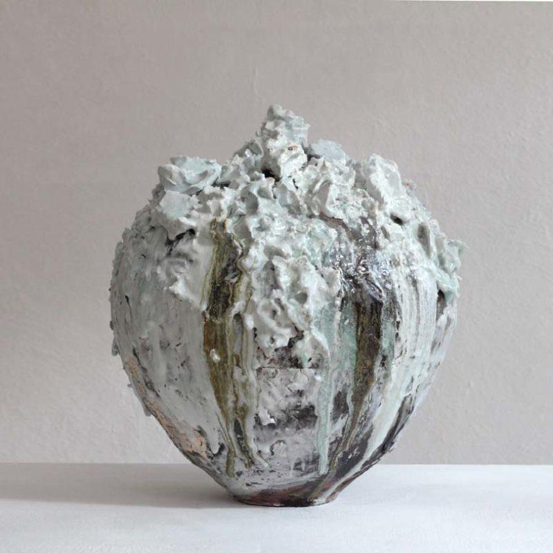 Akiko Hirai H51. Large Volcanic Moon Jar, Stoneware h48 x 46 cm.