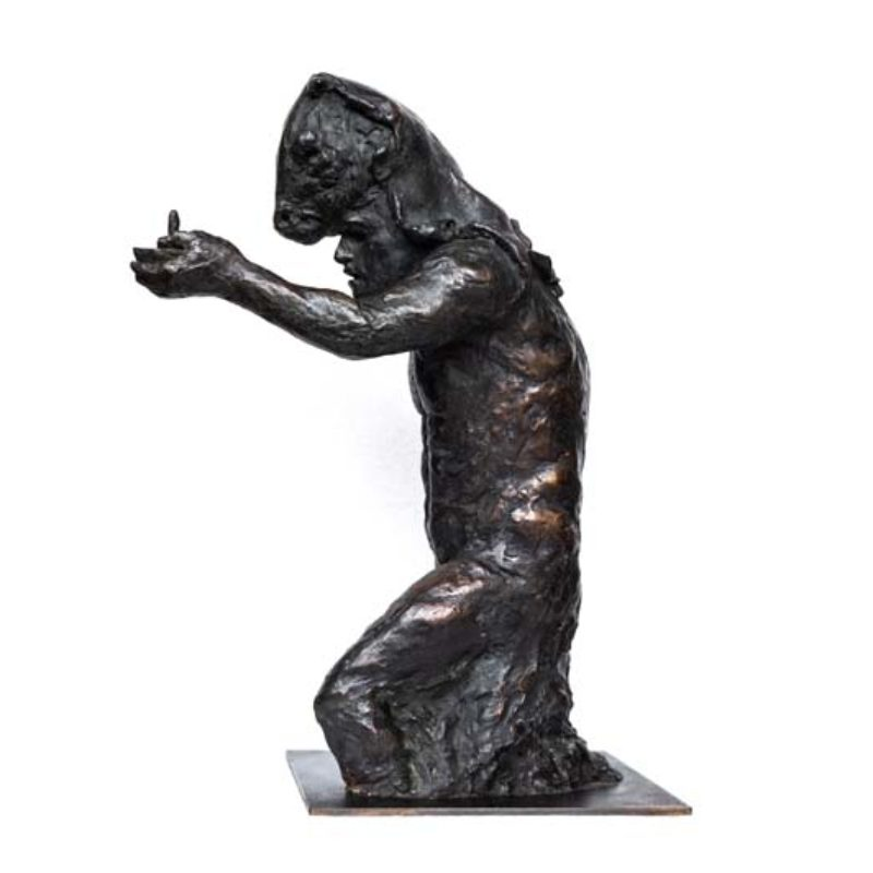 Beth Carter Theseus with Candle ¾ Study, Bronze Ed. of 10 h45 x 23 x 21 cm.