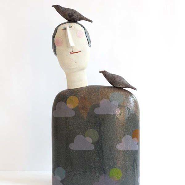 Jane Muir 23. Bird Head Clouds, Stoneware h43 x 22 cm.