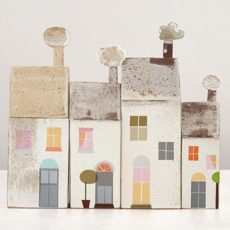 Jane Muir Houses (from left: 46, 44, 47, 45), Stoneware heights 20 - 32 cm.