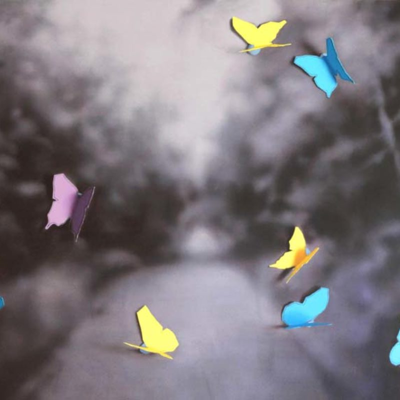 Donald MacDonald Lochside Butterflies, Oil on Canvas 105 x 150 cm.