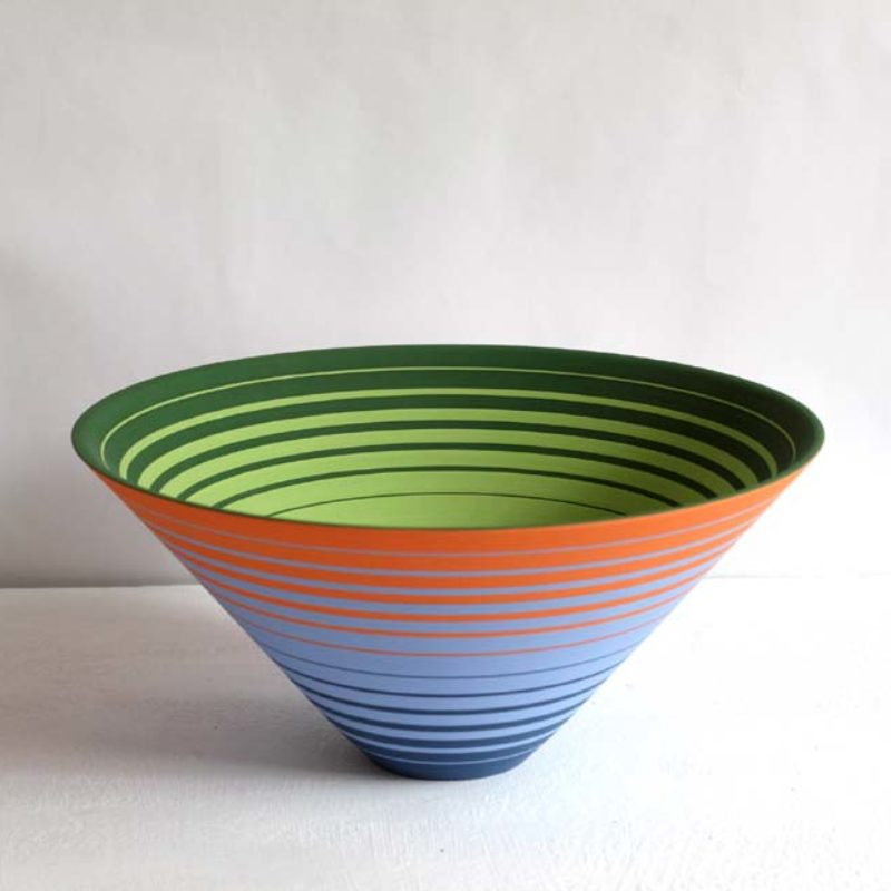 Sara Moorhouse 56. Large Oscillation Bowl, Stoneware with hand-painted underglaze 14 x 30 cm.
