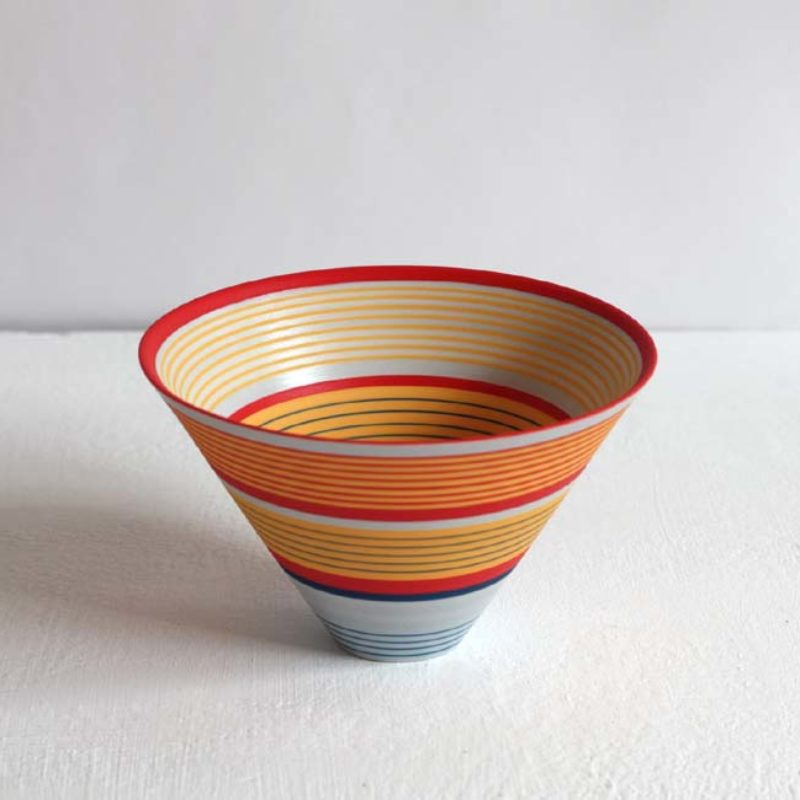 Sara Moorhouse 57. Small Porcelain Bowl, Porcelain with hand-painted underglaze 9 x 14 cm.