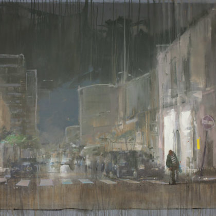 Nathan Ford Daily Epic, Oil on board 122 x 200 cm.