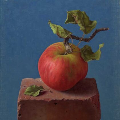 Alex Callaway Apple on a Brick, Oil on Linen Panel 38 x 30 cm.