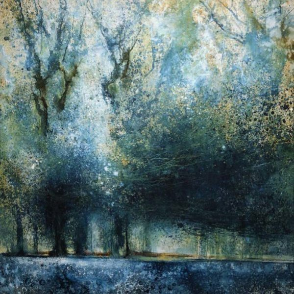 Stewart Edmondson Chiff Chaff Calls and the Woods Sing, Acrylic on paper 76 x 76 cm..