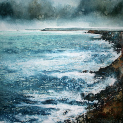 Stewart Edmondson Cliffs of Godrevy, Acrylic on Paper 55 x 57 cm.