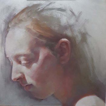 Jennifer Anderson Dawn Light, oil on aluminium 25x25cm