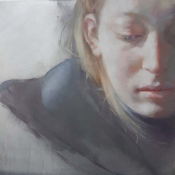 Jennifer Anderson November Sun, Oil on aluminium 25 x 25 cm.