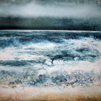 Stewart Edmondson Surf, Godrevy, Acrylic on Paper 49 x 50 cm.