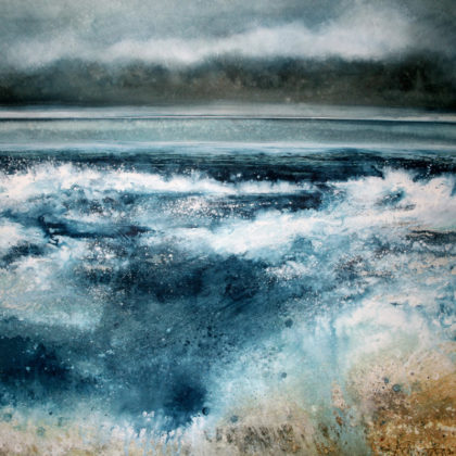 Stewart Edmondson Tide Rushes in, Porthtowan, Acrylic on Paper 83 x 86 cm.
