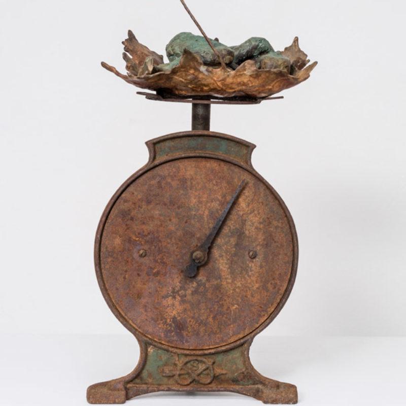 Anna Gillespie, Balance, Unique, Bronze and found steel 36 x 18 x 14 cm