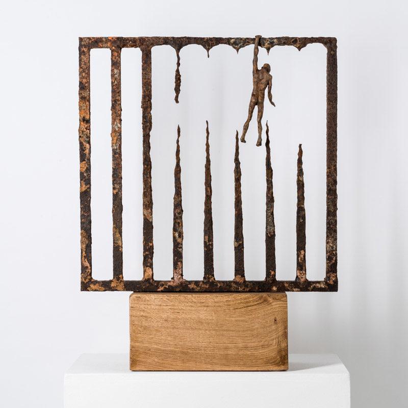 Anna Gillespie Hold On, Unique Bronze, found steel 64 x 49 x 18 cm
